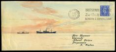 1949 long well hand painted envelope depicting maritime scene, used from London to Wales,