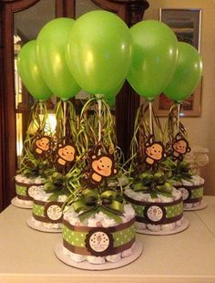 Monkey Baby Shower Diapers Centerpiece with Balloon Green/Brown, Diaper cake…