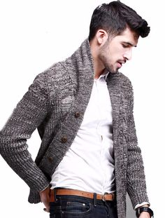 Men's Cardigans - Fall / Winter 2016 - COFFEE