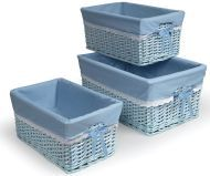 Blue Three Basket Set with Liners | Overstock.com