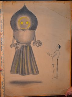 The Original 1952 Braxton County Monster Drawing aka  the Flatwoods Monster or the Phantom of Flatwoods- [braxton cvb]