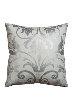 "Rizzy Silver Fretwork Decorative Filled Pillow - 20"" x 20"""