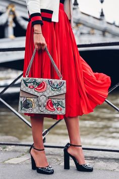 PARIS FASHION WEEK | gucci bag | gucci shoes | red pleated skirt | viva luxury…