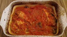 Gurnard fillets with red onion, olives and tomatoes. - Filetti di gallinella con cipolla rossa di tropea, olive taggiasche, pomodori pelati. Buon appetito.