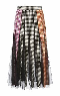 This **Christopher Kane** Gingham Godet Skirt features a banded waist and an A-line shape.