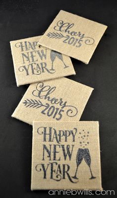Burlap New Year's Eve Coasters by Annie Williams - made using Silhouette Glitter Heat Transfer Material and my CAMEO #silhouettedesignteam