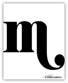 Sexy letter M / Monogram initial print / Large bold by PrintableExpressions