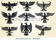 heraldic eagle set (eagle silhouettes, heraldic design elements, eagle vector collection)