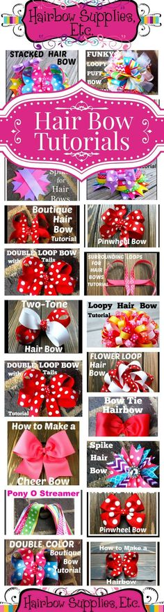 Over 50 FREE Hair Bow Tutorials – Hair Bow Instructions made easy by Hairbow Supplies, Etc.!  Simple to follow DIY video instructions to make hair bows for your little girl!  www.hairbowsuppliesetc.com