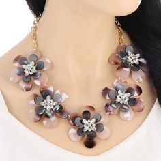 CMD by Mirna - Diamond Flower Decorated Short Chain Design floral statement necklace, less than US$ 12!!!