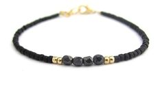 Black Friendship Bracelet Seed Bead Gray Glass Stacking Layer Jewelry