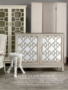 E. H. G. F. ACCENT ON DESIGN AC C E N T P I E C E S A R E A P OW E R F U L C O M P O N E N T I N T H E DESIGN OF A BEAUTIFUL HOME. THEY BRING ROOMS TO LIFE WITH POPS OF COLOR, VISUAL TEXTURE AND P E R S O N A L M E A N I N G . S E E H O W W E D O I T. 02x03-ACQ-SP16-D3.indd 2 2/17/16 9:46 AM