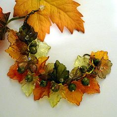 """Fall In New England"" a Bracelet of Vintage Lucite Leaves, the Gemstone - Unakite, and Crystals, by K for 'Trifles & Whimsy', on Etsy"