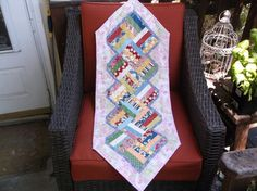 Patchwork table runner quilted runner primary colors by NannyGrans