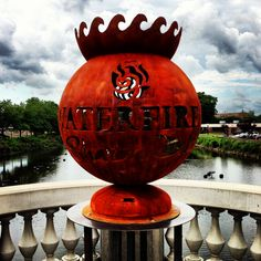 The custom WaterFire Sharon, PA Fire Globe™ is delivered and installed on the State Street Bridge that overlooks the Shenango RIver. All set for Sharon's first WaterFire event!