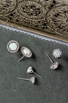 Platinum secures your diamond and gemstone studs for everyday elegance. Gemstone Earrings, Stud Earrings, What's Trending, Studs, Fine Jewelry, Jewels, Gemstones, Band, Diamond