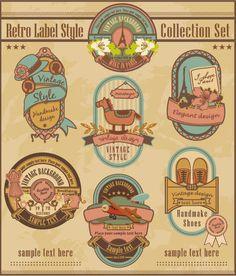 Retro elements cartoon label vector set 01