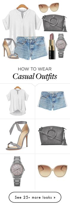 """Comfy& Casual"" by bellamatte on Polyvore featuring RE/DONE, Alexandre Birman, ELLE Time & Jewelry, Linda Farrow, Bobbi Brown Cosmetics and Nasty Gal"