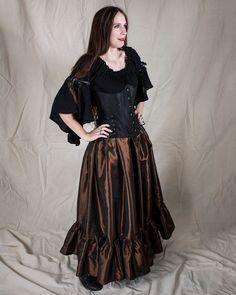Steampunk Brown Taffeta Ruffle Skirt Halloween Costume by Faire Treasures on Etsy