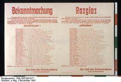 Original title:info Bekanntmachung Kommunistische Banden haben wieder Gewalttaten verübt und auf brutale Weise fünf Personen ermordet. Am 15. November 1941 wurden folgende Gewaltverbrecher, die bewaffneten kommunistischen Banden angehörten ... in Marburg a.d. Drau erschossen: Archive title:Chef der Zivilverwaltung in der Untersteiermark Dating:November 1941 Designer:o.Ang. Publisher:Marburger Druckerei, Marburg/Drau