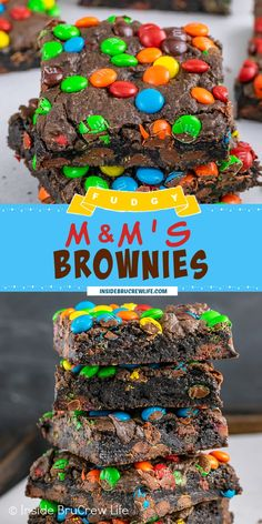 M&M's Brownies - homemade brownies loaded with mini M&M's candies is the way to do dessert right! Make these easy fudgy brownies for the chocolate lover in your life. Cookie Brownie Bars, Brownie Cake, M&m Bars Recipe, M M Brownies, Best Chocolate Desserts, Homemade Brownies, Easy Casserole Recipes, Brownie Recipes, Bar Recipes