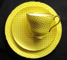 SHELLEY POLKA DOTS GOLD STAR TEA CUP AND SAUCER TRIO