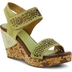Spring Step Women's Allura Mint Sandals ($100) ❤ liked on Polyvore featuring shoes, sandals, green, padded sandals, adjustable strap sandals, spring step sandals, green wedge shoes and spring step shoes