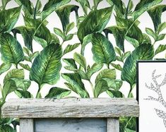East Urban Home 'Banana Leaves' Fleece Blanket Size: Tropical Fabric, Tropical Leaves, Tropical Wallpaper, Black Wallpaper, Colorful Parrots, Wall Decal Sticker, Decals, Botanical Drawings, Photo Displays