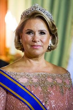 Grand Duchess Maria Teresa during the official picture at the state banquet in the Grand Ducal Palace on May 23, 2018 in Luxembourg, Luxembourg. The Dutch King and Queen are in Luxembourg for a three day state visit.