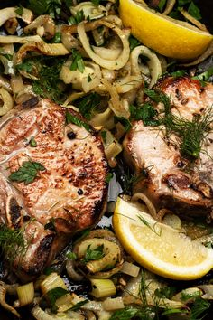 Pork and fennel — both fennel seed and the bulb-shaped vegetable — are often companions, and the combination of flavors is quite delicious For best results, let the chops soak for at least a few hours, preferably overnight, in a quickly made brine. Fennel Recipes, Pork Recipes, Cooking Recipes, Cooking Pork, Sausage Recipes, White Meat, White Wine, Baked Pork Chops, Pork Dishes