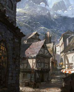 Michael Franchina Concept Art World Fantasy Village, Fantasy Town, Medieval Fantasy, Fantasy World, Medieval Town, Medieval Houses, Medieval Times, Concept Art Landscape, Fantasy Art Landscapes