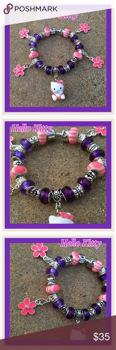 """Hello Kitty SP Handmade Bracelet Made with quality beads.  Handmade SP Hello Kitty Bracelet.  Four pink and white stripe beads, eight purple beads with 925 stamped core, several silver spacer beads, four pink flowers with a clear crystal in the middle charms, one Sanrio Hello Kitty charm and one """"love"""" stopper beads.  ️️TradesLow-ballingFor any QUESTIONS please see my question listing.  Thank you and Happy Poshing. Jewelry Bracelets"""