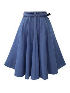 Faldas Mujer Moda Skirts High Waist Long Denim With Belt Casual Jupe Femme Versatile Loose HalfLength Cowboy Skirt Size One Size Color Blue Midi Flare Skirt, Pleated Midi Skirt, Dress Skirt, Flared Skirt, Skater Skirt, Maxi Dresses, Long Denim Dress, High Waisted Denim Skirt, Denim Skirts