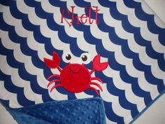 Custom Monogrammed Minky Baby Blanket with Embroidered Crab- Medium Blue Wave Chevron