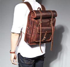 Handmade vintage style leather big large backpack Genuine Leather backpack for Men&women/Leather backpack Roll top backpack