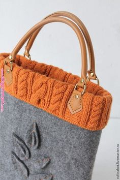 Knitted bags - Pin by Nursel Çayoğlu on Keçe – Knitted bags Sacs Tote Bags, Bag Pins, Felt Purse, Felt Bags, Handmade Purses, Knitted Bags, Beautiful Bags, Tote Handbags, Bag Making