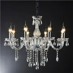 40W 8-light Crystal Chandelier in Candle Feature