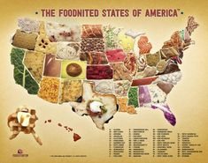 The Foodnited States of America Map: All 50 States Reimagined as Food Puns Food Map, Food Puns, Food Humor, U.s. States, United States, Us Map, Cultura Pop, Learning Spanish, Father And Son