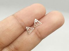 Harry Potter Stud Earrings, Sterling Silver Harry Potter Deathly Hallows Post Earrings, Harry Potter Jewelry, Potterhead jewelry, Triangle