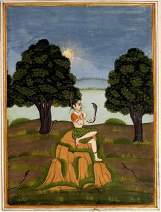 Asavari Ragini a morning raag. A woman with a cobra in her hair charms a snake in her hand.