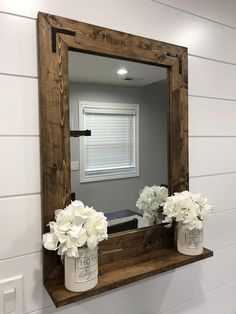 Mirror with 5 Deep Shelf Bathroom Mirror Entryway Wood Framed Bathroom Mirrors, Farmhouse Bathroom Mirrors, Bathroom Mirror With Shelf, Entry Mirror, Farmhouse Frames, Rustic Mirrors, Wood Mirror, Bathroom Storage, Farmhouse Style