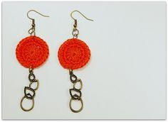 SALE Orange Handmade Crocheted 1 Inch Circle Appliques by zima