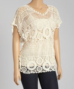 Ivory Crochet Scoop Neck Top - Plus #zulily #zulilyfinds. I never do white since I always spill something on it within like one minute but it does look nice.