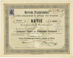HWPH AG - Historische Wertpapiere - Deutsche Pulverfabriken Actien-Gesellschaft zu Rönsahl und Walsrode Rönsahl, 18.04.1873, Gründeraktie über 200 Thaler = 600 Mark, #254