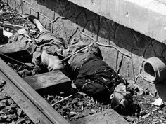 Chinese civilians, shot by the Japanese on the platform of Shanghai's main train station, lie dead next to the tracks, 1937. Japanese brutality against Chinese civilians was notorious, with the Rape of Nankin its most infamous expression.