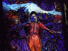Harry Clarke's stained glass window; The Eve of St. Agnes (detail) 1924
