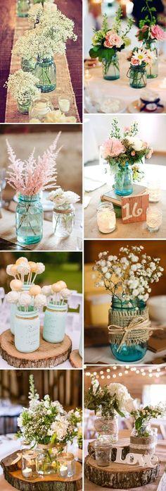 #beautiful rustic #mason #jar #wedding #centerpieces ideas