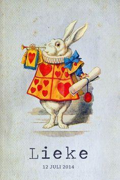 Geboortekaartje meisje of jongen - alice in wonderland - konijn - Pimpelpluis - https://www.facebook.com/pages/Pimpelpluis/188675421305550?ref=hl dieren
