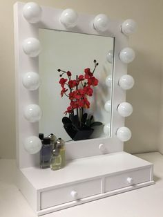 Hollywood Vogue Lighted Makeup Vanity Mirror with Drawers Dimmer White | eBay