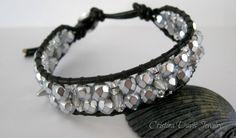 Leather Wrap Bracelet Fun Silver Mini by CristinaDavisJewelry, $32.50,   im going to make these, looks super easy